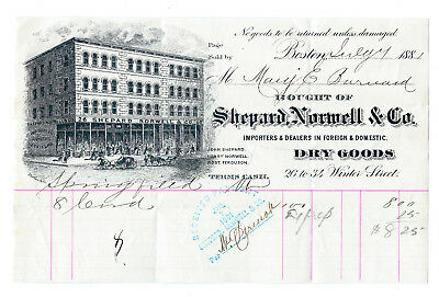 1881 Shepard, Norwell & Company Dry Goods store receipt, Boston, advertising](Party Store Boston)