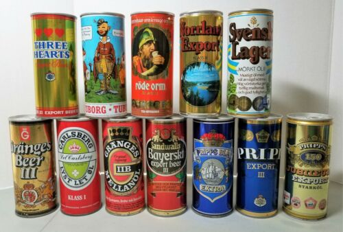 Lot of 12 different 16oz pull tab steel beer cans from Sweden