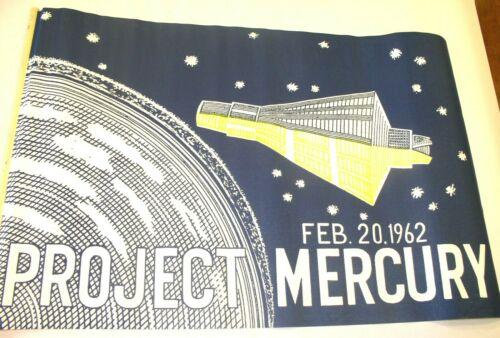 "Rare Original 1962 John Glenn ""Project Mercury"" Parade Flag in MINT CONDITION!"