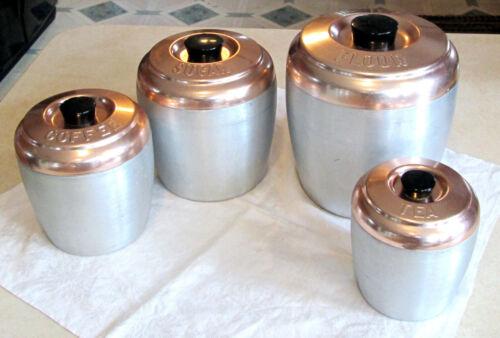 Vintage Kromex Spun Aluminum Canister Set Rose Lids
