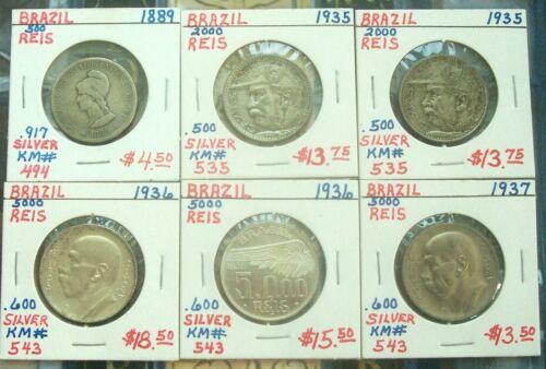 Brazil 1889 500 Reis, 1935 2000 reis Qty 2, 1936 5000 reis Qty 2 & 1937 Lot of 6