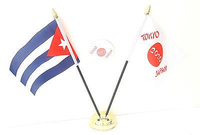 Cuba & Tokyo Japan Olympics 2020 Desk Flags & 59mm BadgeSet
