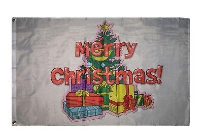 3x5 Merry Christmas Tree Presents Gifts Flag 3'x5' House Ban