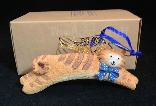 "Vintage Avon Angel Pet Orange Tabby Cat Christmas Tree Ornament 4.75"" L NEW"