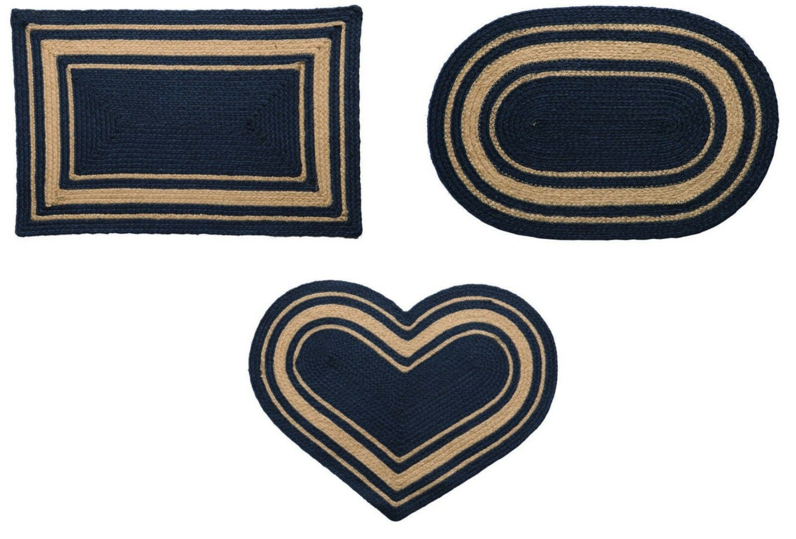 Heritage Blue Braided Area Rug Heart Rectangle Oval Jute Fab