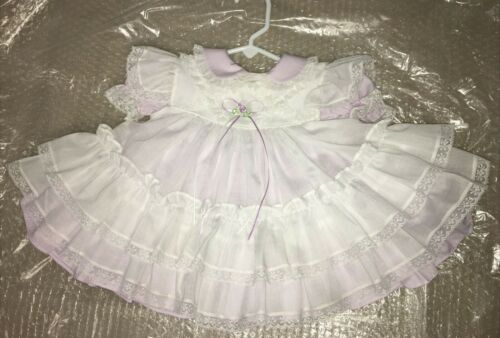 Vtg BRYAN 18 mo Baby NEW  full circle Pinafore 2 pc Party Dress Lace Ruffle Mint