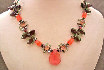 CHERRY QUARTZ TEARDROP, TOURMALINE & GLASS FLORAL BEADED NECKLACE - FETCHING!