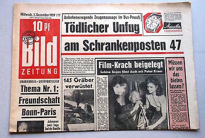 Kult-Zeitschrift BILD ZEITUNG, 2. Dezember 1959, Sabine Sinjen und Peter Kraus