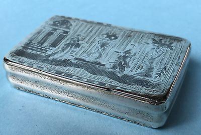 Tabatiere Silber 84 Zolotniki Tabakdose Silberdose Niello Moskau Russland 1820