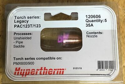 Hypertherm Genuine Powermax 600 Pipe Saddled Nozzles 35 Amp - 5 Pack 120606