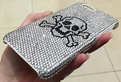 Black Skull Crystal Case (Black Skull Clear Made with Swarovski Crystals Bling Luxury Shiny Case Galaxy S7)