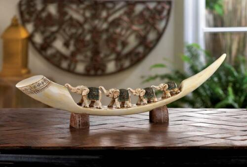 Elephants Traveling on Polyresin Tusk Sculpture - African Elephant Animal Decor