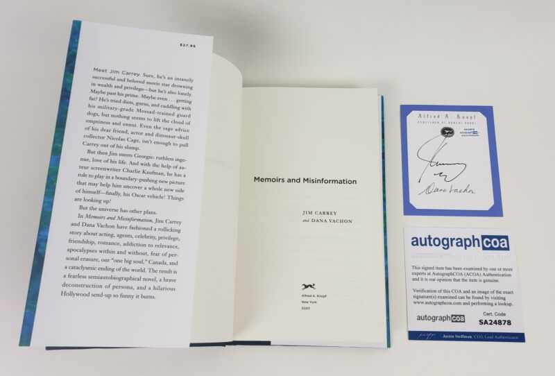 Jim Carrey Autographed Signed Book Memiors And Misinformation ACOA