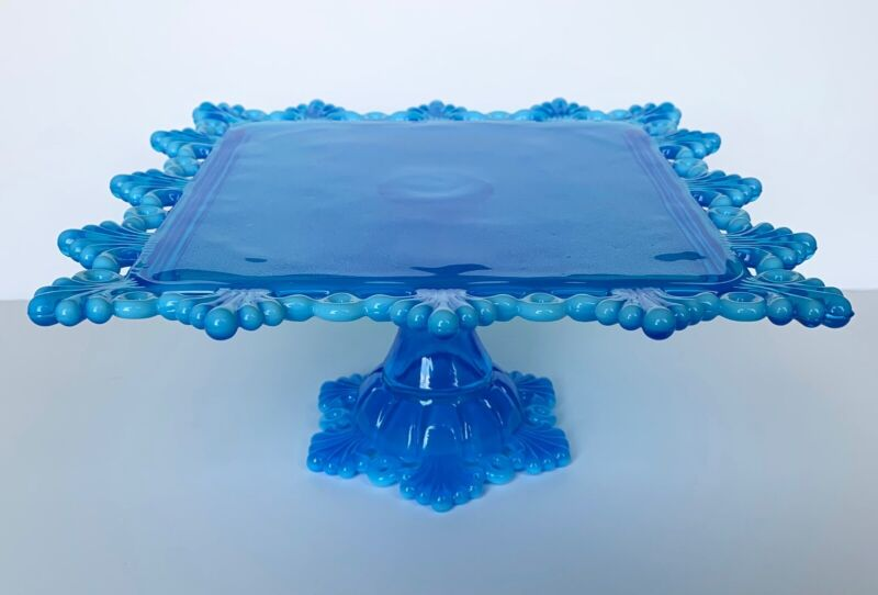 Westmoreland Ring & Petal Brandywine Blue Opalescent Square Cake Stand Plate