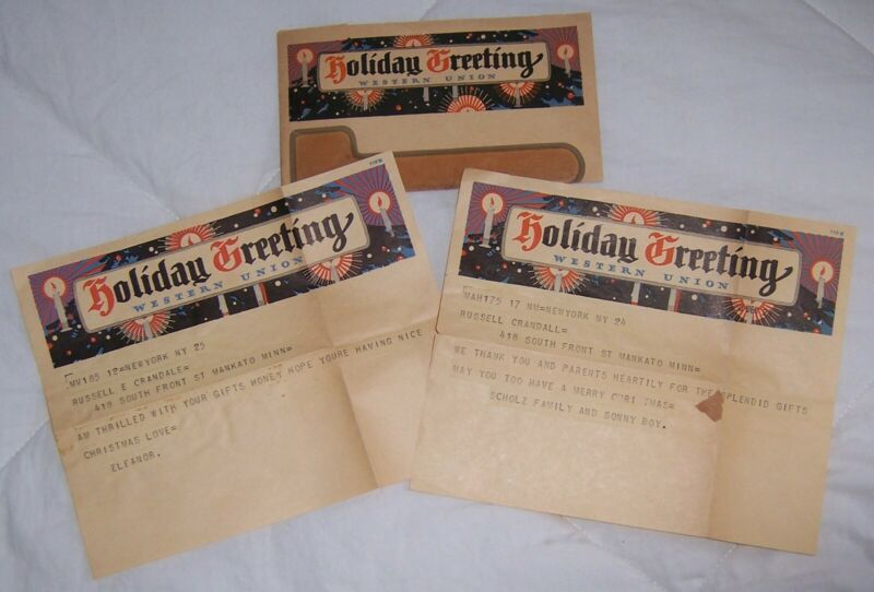 1930 1931 Western Union Holiday Greeting Telegrams - New York City to Mankato MN