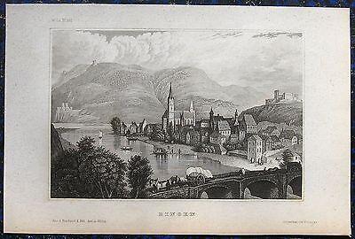 BINGEN AM RHEIN. Orig. Stahlstich von ca. 1850