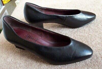 "HOGL Classic Fashion black leather court shoes 2"" heels UK size 4 (EU 37)"