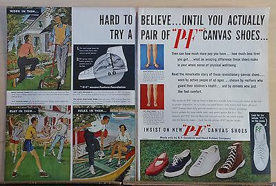 Coloring Pages For Summer (1949 two page magazine ad for PF canvas shoes - colorful, summer scenes,)