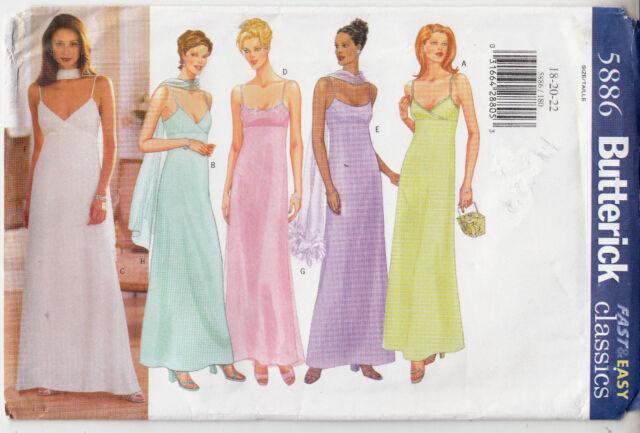 Butterick Plus Size Full Length Dress Sewing Pattern 5886 Uncut Size ...