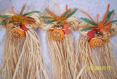 PUMPKIN RAFFIA BOWS:3 PC  ~IN-OUTDOOR~DECORATION HOME-OFFICE WALL -DOOR HANGING  (Office Door Halloween Decorations)