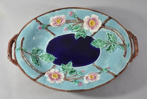 Antique Majolica Wild Rose And Rope Oval Platter Cobalt / Turquoise Circa 1800