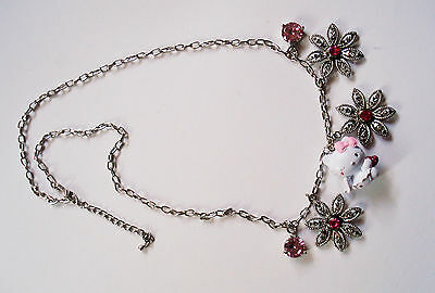"Hello Kitty Halskette Collier ""FLOWER ANGEL Kitty"" Strass Zirkonia SANRIO NEU !"