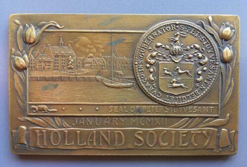 1912 Bronze Medal / Plaquette Holland Society New York USA Peter Stuyvesant Seal