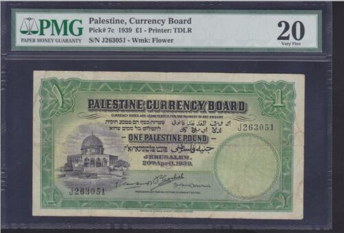 PALESTINE 1 POUND DATED 1939 P.7b IN PMG HOLDER VF 20