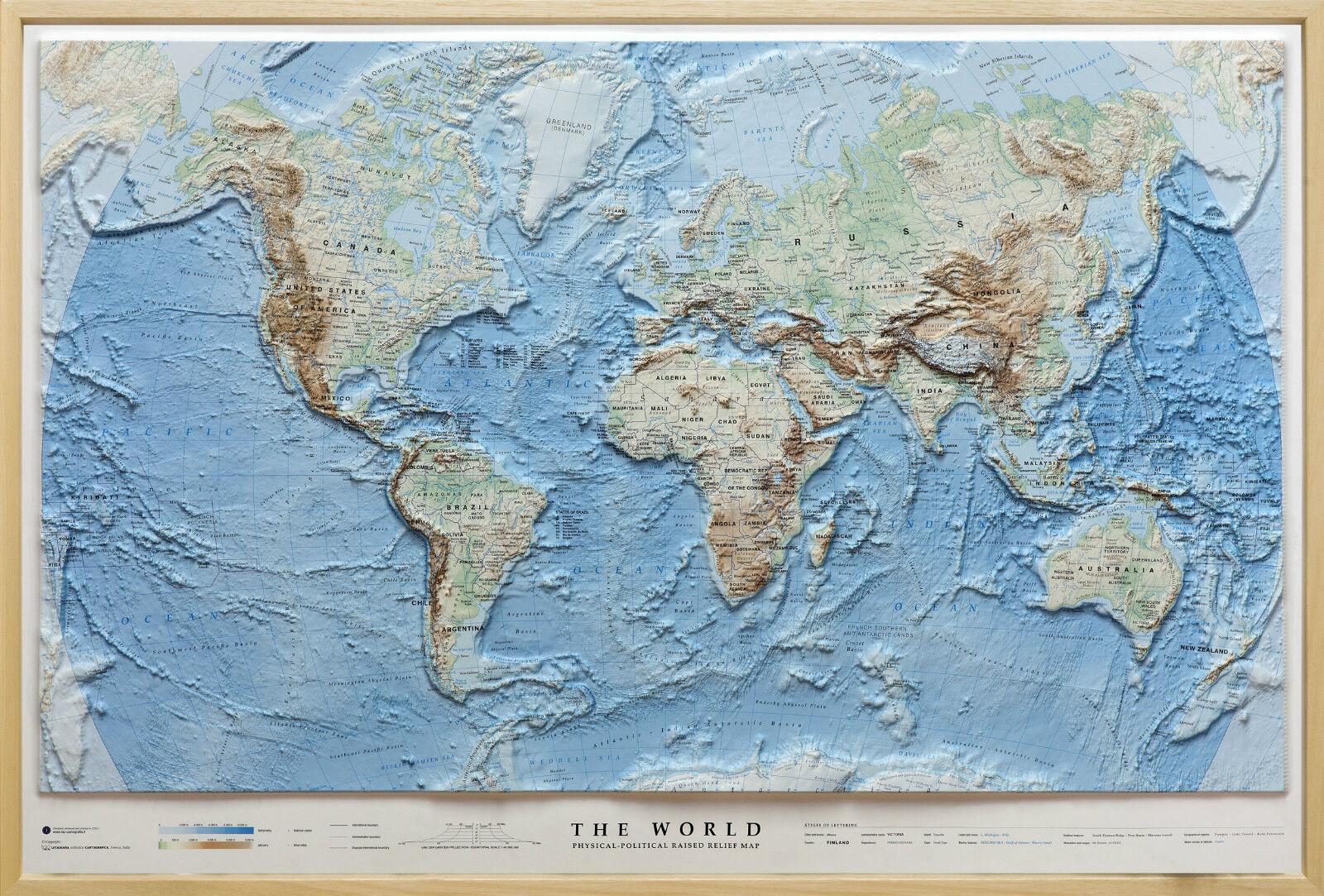Cartina Sardegna Rilievo.Embossed Card World With 100x68 Cm Frame Global Map Map Ebay