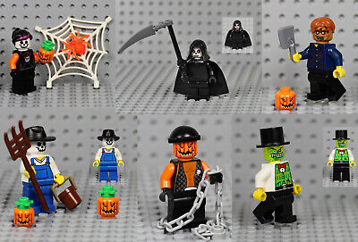 LEGO - 6x Halloween Minifigure Combo - Reaper Jack O' Lantern Zombie Scarecrow