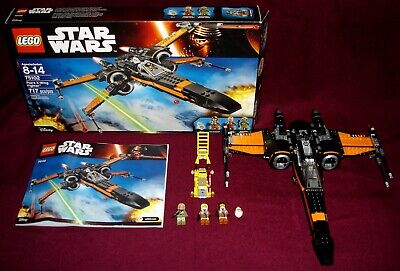 2015 LEGO STAR WARS TFA 75102 POE'S X-WING FIGHTER BLACK 100% COMPLETE MINT!