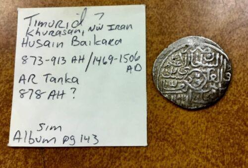 TIMURID SILVER DINAR TANKA  24 mm 5,3 g off center 873-913 AH / 1469-1506 AD