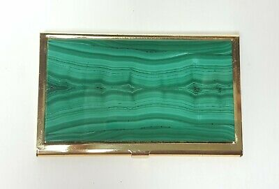 Vintage Elegant Business Card Holder Inlaid With Natural Malachite.
