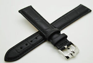 Omega Watch Band/Strap Black Genuine Leather 18mm