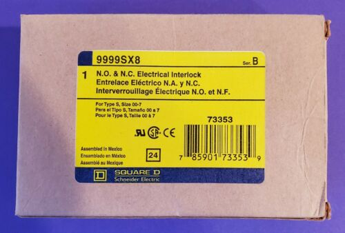 SQUARE D 9999SX8 N/O & N/C ELECTRICAL INTERLOCK NEW! UNUSED! TYPE S SIZE 00-7