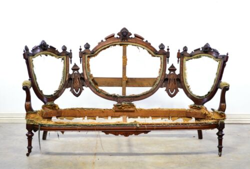 Carved American Walnut Victorian Medallion Back Sofa Frame With Faces - Jelliff