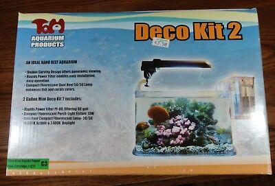 New TOM Deco Kit 2 Gallon Nano Acrylic Aquarium Fish Tank w/ Reef Light & Filter