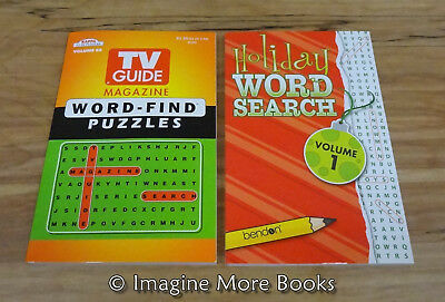 2 NEW Word-Find Puzzles TV Guide Magazine Vol 66 & Holiday Word Search Vol 1 - Word Search Puzzle Books