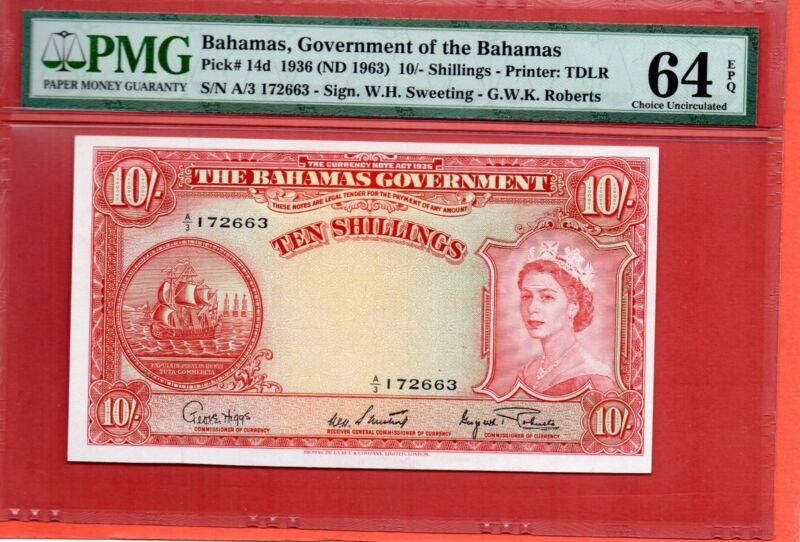 1936/63 Gov of Bahamas QEII 10 Shillings note.PMG 64 EPQ