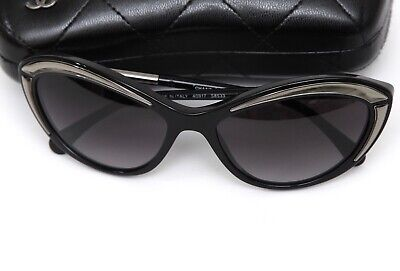 CHANEL Black Sunglasses CAT EYE Silver Acetate Frame Gradient Lens S8533