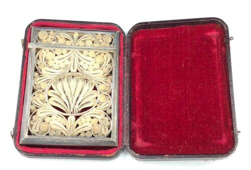 Vintage Ornate Silver Filigree Hinged Card Case with Velvet-Lined Leather Box