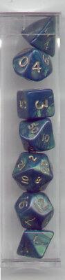 New MINI-RPG Dice Set of 7 (Tube) -Interferenz Green D4 D6 D8 D10 D12 D20 D00-90