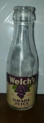 """Vintage Small Glass Welch's Grape Juice Bottle 6"""" /  4 oz. DATED 1946"""