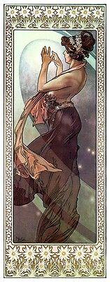 NEW Alphonse Alfons Mucha Art Nouveau 4 Mini Moon & Stars Prints & 4 FREE Prints