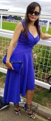 Karen Millen Blue Asymmetric Drape Dip Hem Party Cocktail Ascot Midi Dress 8 10