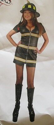 BLACK FAUX LEATHER DOUBLE ZIP FIRE FOX HALLOWEEN COSTUME ADULT SIZE M](Adult Fox Halloween Costume)