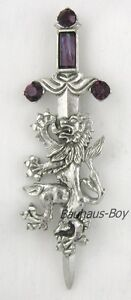 KILT PIN PEWTER RAMPANT LION & FAUX AMETHYST by MIRACLE ANTIQUE FINISH FOR KILTS