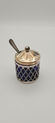 COBALT BLUE GLASS Mustard Pot With Silver Sleeve Lid Sheffield England Spoon