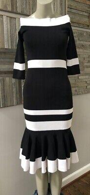 Jonathan Simkhai Bold Stripe Off Shoulder Trumpet Dress Black/White Size Small