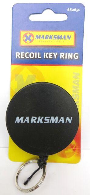 RECOIL KEY RING Black Retractable Key Ring & Clip Pull Chain Cord- Belt Clip